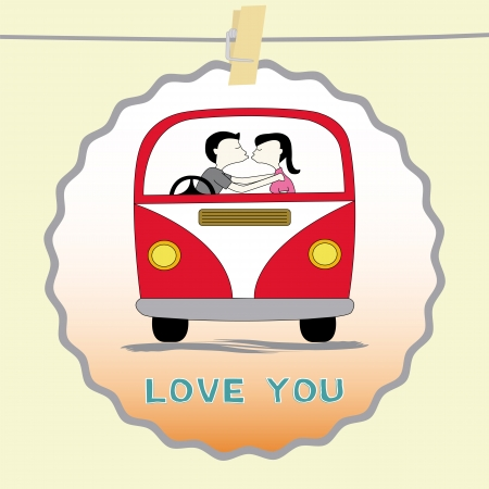 Boy and girl are kissing in the van  Card for valentine day  Vector