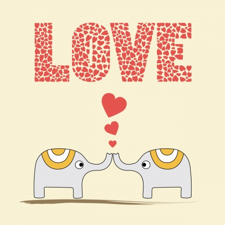 Two elephants in love  Card for valentine day  Vector