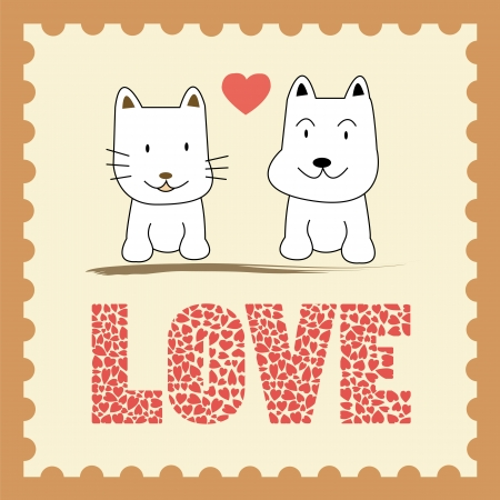Cat and dog in love  Card for valentine day  Vector