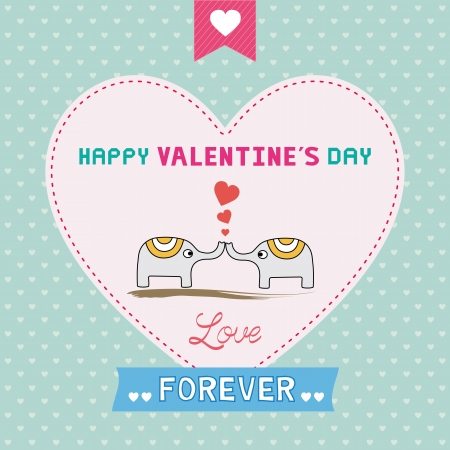 Romantic card with two elephants  For valentine day  Vector