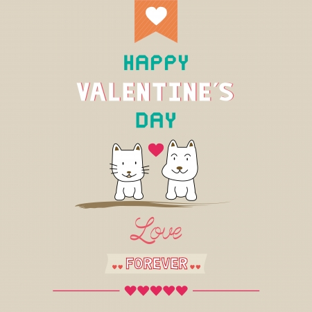 Romantic card with dog and cat  For valentine day  Vector