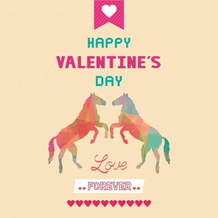 Romantic card with two horses  For valentine day  Vector