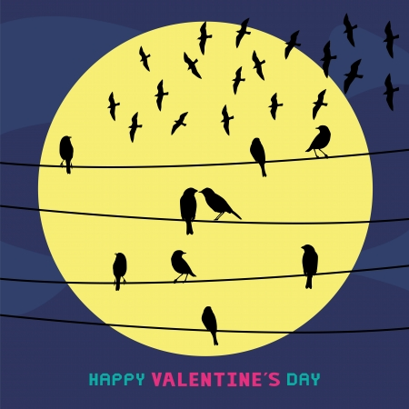 Birds on the wires  Card for valentine day  Vector