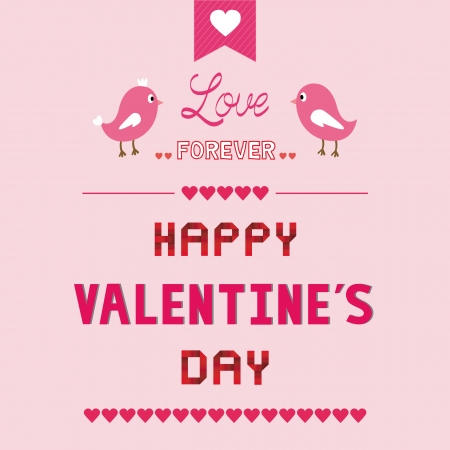 Romantic card with two birds  For valentine day  Vector