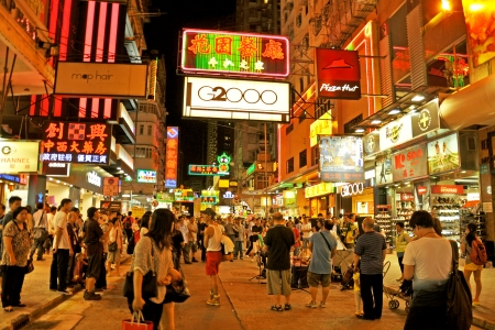 HONG KONG - JUNE 20  Mongkok district at night on June 20, 2013 in Hong Kong  Mongkok district is a very popular shopping place in Hong Kong  Editorial