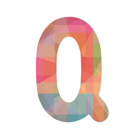 Colorful alphabet Q for design and decoration