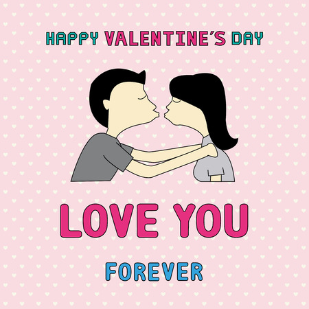 Boy and girl are kissing  Card for valentine s day