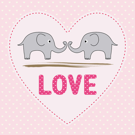 Romantic card with two elephants  Vector