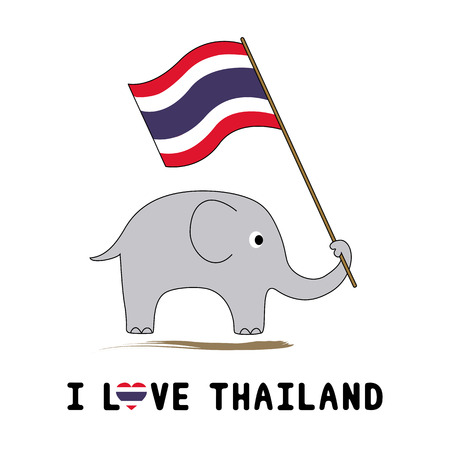 Elephant hold Thai flag for background and decoration  Vector