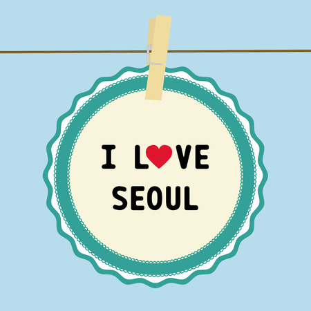 I LOVE SEOUL letter  Card for decoration  Vector