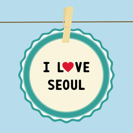seoul: Je AIME SEOUL lettre carte pour la d�coration