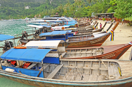 KRABI, THAILAND � NOVEMBER 3   Long tail boats on Phi Phi pier on November 3, 2012 in Krabi, Thailand