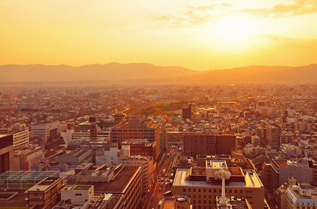 Sunset over Kyoto City in Japan