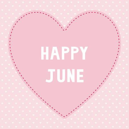 Feliz tarjeta de felicitación de junio Ilustración de vector