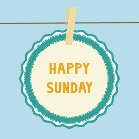 Happy Sunday letters on paper card