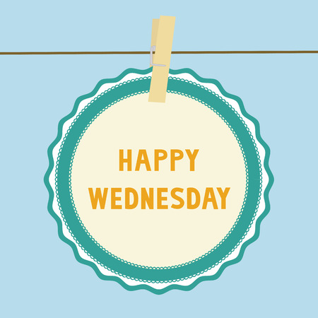 wednesday: Happy Wednesday letters on paper card  Illustration