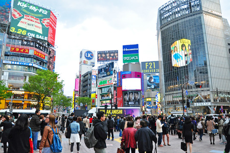 TOKYO - APRIL 04  Crowds of people crossing the center of Shibuya on April 04, 2014  The most important commercial center in Tokyo, Japan