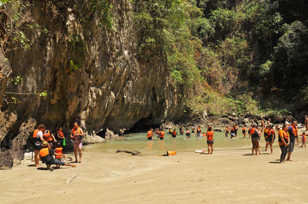 TRANG, THAILAND - FEBRUARY 23  Emerald Cave or Morakot Cave on February 23, 2014  It is famous cave in Mook island and tourist attraction that most tourists in Trang, Thailand  Editorial