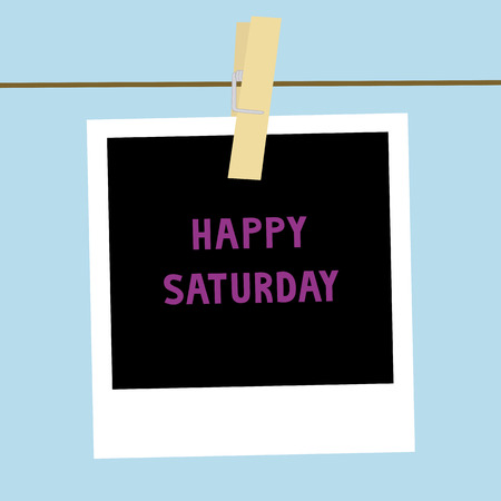 saturday: Happy Saturday letters on the card  Stock Photo
