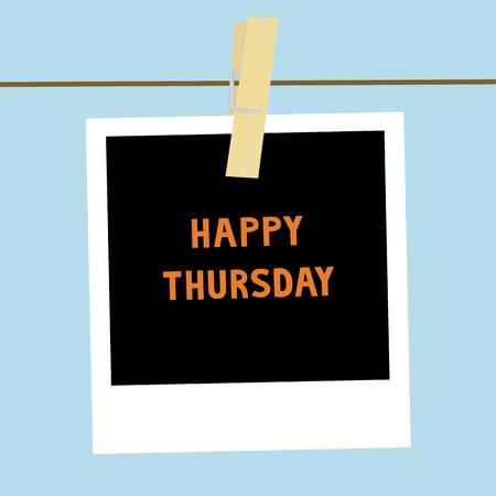 thursday: Happy Thursday letters on the card  Stock Photo