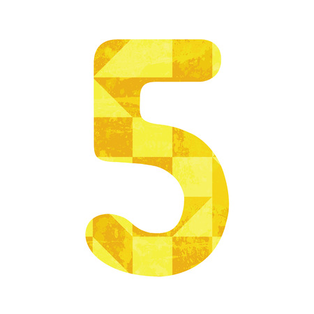 Abstract yellow number five for design  Vector