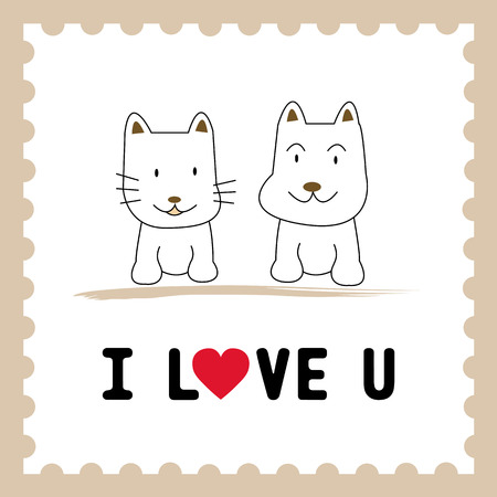 Dog and Cat in love  Card for lover  Vector