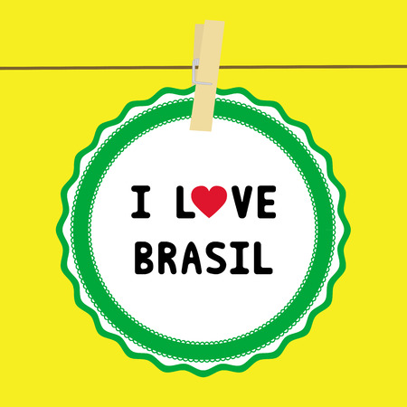 brasil: I lOVE BRASIL letter  Card for decoration  Illustration