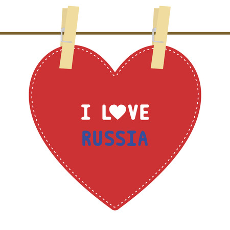 clasp: I lOVE RUSSIA letter  Card for decoration  Illustration