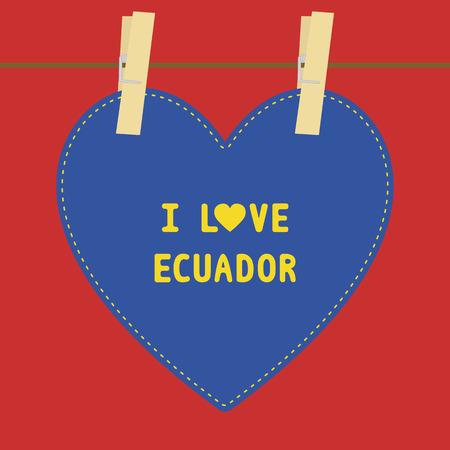 ecuador: Ik houd van ECUADOR brief kaart voor decoratie Stock Illustratie