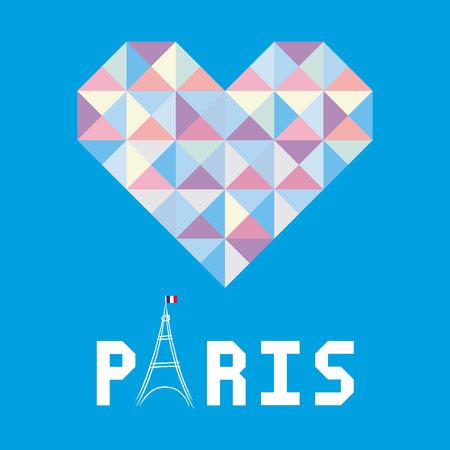 i love paris: I love Paris card for decoration  Illustration