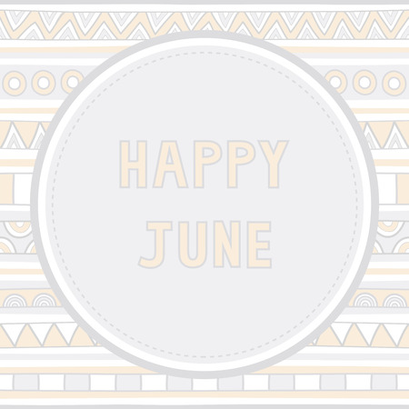 Happy June letter on hand drawn background