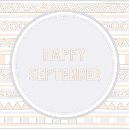 Happy September letter on hand drawn background  Illustration