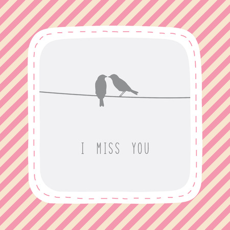 i miss you: Couple of birds say I miss you  Illustration