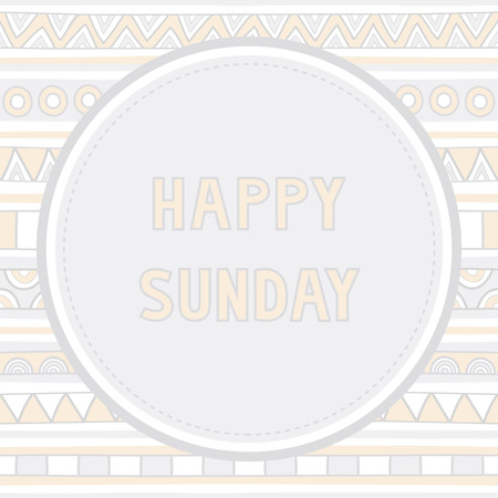 Happy Sunday letter on hand drawn background