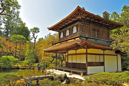 Ginkakuji  Silver Pavilion  is a Zen temple along Kyoto s eastern mountains  Higashiyama   In 1482, shogun Ashikaga Yoshimasa built his retirement villa on the grounds of today s temple