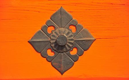 The iron decor on Japanese temple door, Sanjusangendo Temple in Kyoto, Japan