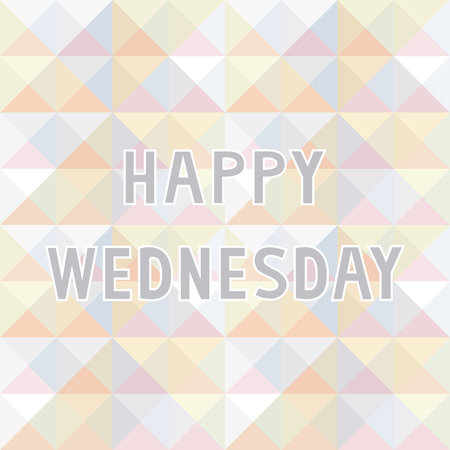 Happy Wednesday letter on pastel triangle background