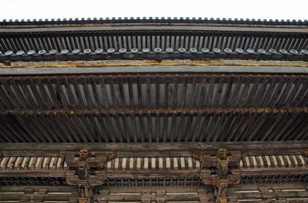 ninnaji: Architecture of the Japanese roof at Ninnaji temple in Kyoto, Japan  Stock Photo