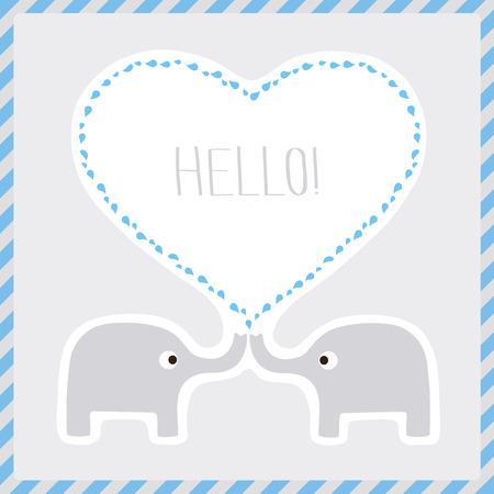 say hello: Elephant couple say hello  Card for decoration