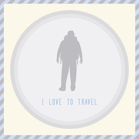 backpacker: Man backpacker love to travel  Card for traveler  Illustration