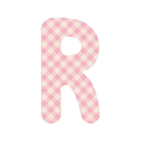 Pink squares pattern alphabet R