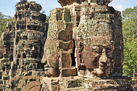 Faces of Bayon temple in Angkor Thom, Siemreap, Cambodia  photo