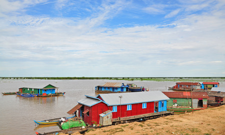 The floating village on the water of Tonle Sap lake, Cambodia