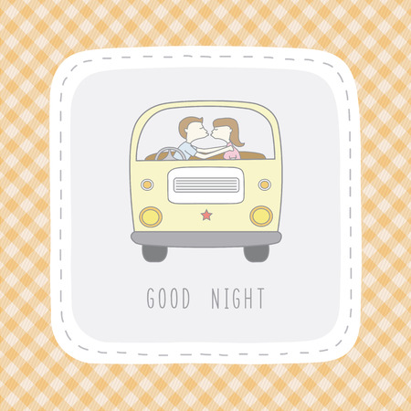 Boy and girl are kissing in the van say good night.