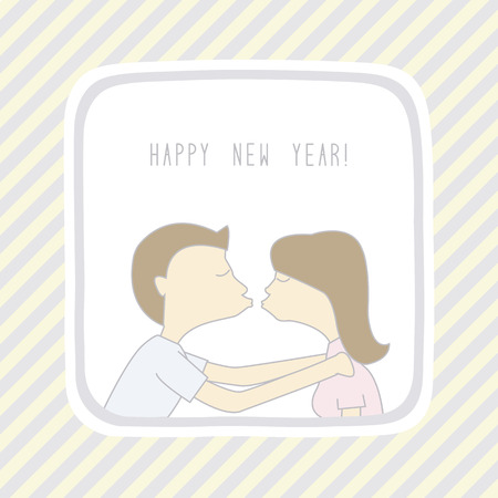 Boy and girl are kissing in New Year.