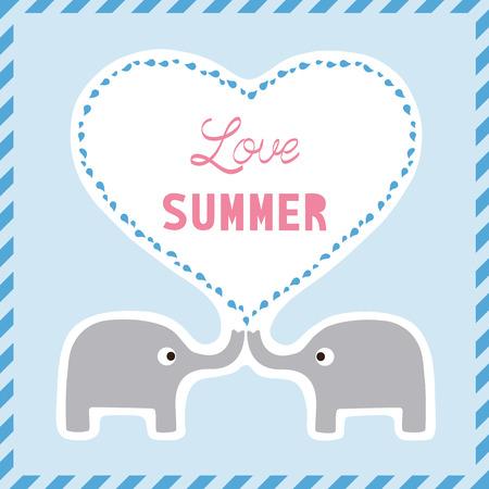 Elephants are kissing in summer season. Vector
