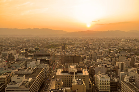 Sunset over Kyoto City in Japan. photo