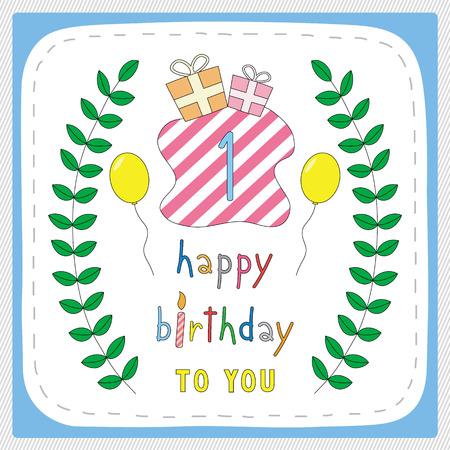1 year anniversary: Happy birthday card with 1st birthday and for 1 year anniversary celebration.