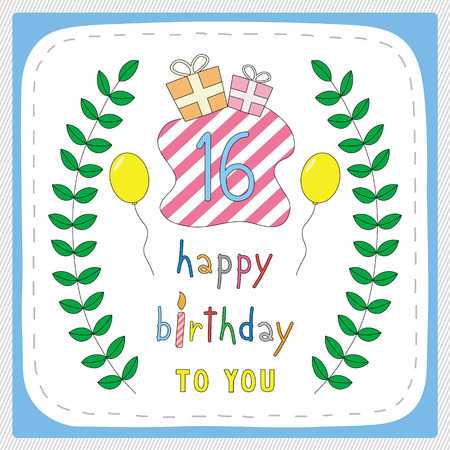16 years: Happy birthday card with 16th birthday and for 16 years anniversary celebration.