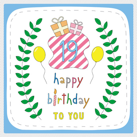 Happy Birthday Card With 19th Birthday And For 19 Years Anniversary
